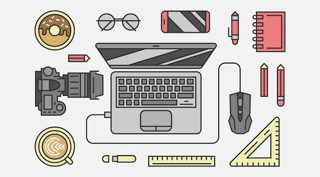 Equipamento digital criativo em vista superior