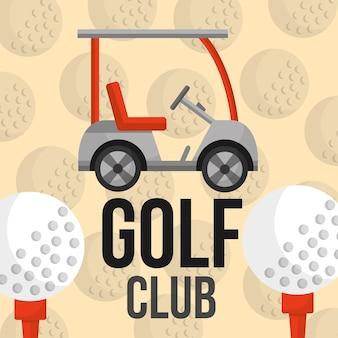 Equipamento do carro e das bolas do clube de golfe
