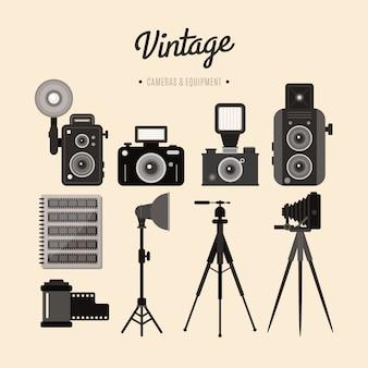 Equipamento do vintage de câmeras e acessórios