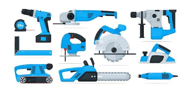 Equipamento e ferramenta de mão de trabalhador de construção de energia elétrica. serra de vaivém profissional, serra circular, aplainadora, trituradora, furadeira, régua para madeira