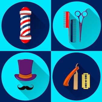 Equipamento e símbolos do barbeiro