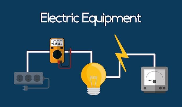 Equipamento elétrico e suprimentos, ilustração vetorial