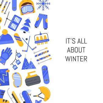 Equipamento esportivo de inverno estilo plano e atributos