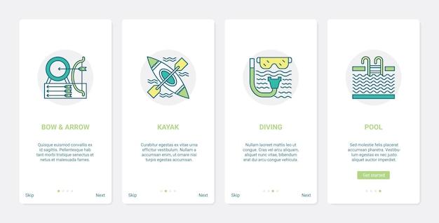 Equipamento esportivo para símbolos de esportes radicais ux ui onboarding aplicativo móvel conjunto de tela da página