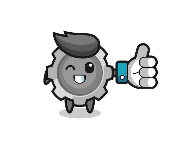 Equipamento fofo com símbolo de polegar para cima de mídia social, design de estilo fofo para camiseta, adesivo, elemento de logotipo