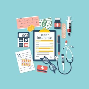 Equipamento médico, dinheiro e medicamentos prescritos, vista superior