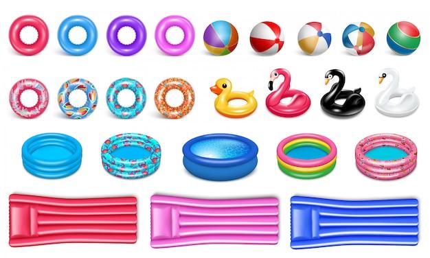 Equipamento para a piscina. estilo realista. conjunto de ícones de borracha para esportes aquáticos e recreação.