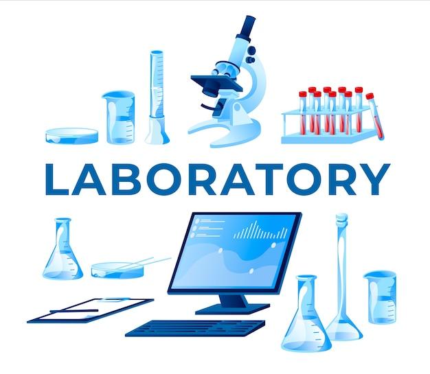 Equipamento para laboratório de ciências médicas e biologia conjunto de objetos isolados branco