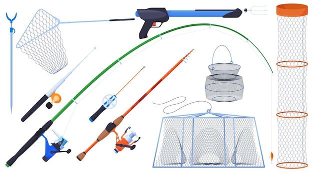 Equipamento para pesca. varas de pesca, linha de pesca, anzóis, flutuadores, isca, rede.