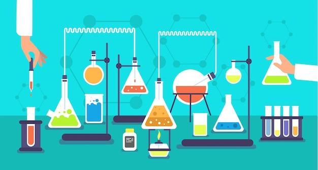 Equipamento químico no laboratório de análise química. experiência de laboratório de pesquisa de escola de ciência
