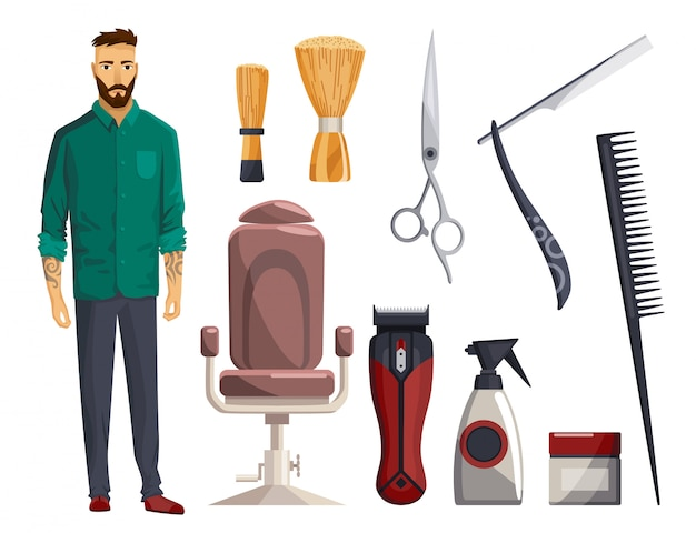 Equipamentos de barbearia. conjunto de itens de barbearia vintage. lâmina de barbear, máquina de cortar cabelo, tesoura, pente, navalha. elementos de design de salão de beleza de cortes de cabelo. acessórios com modelo man