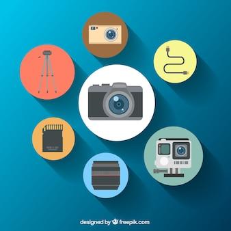 Equipamentos de câmera ícones arredondados
