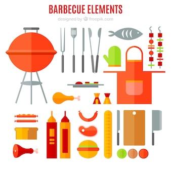 Equipamentos de churrasco e comida