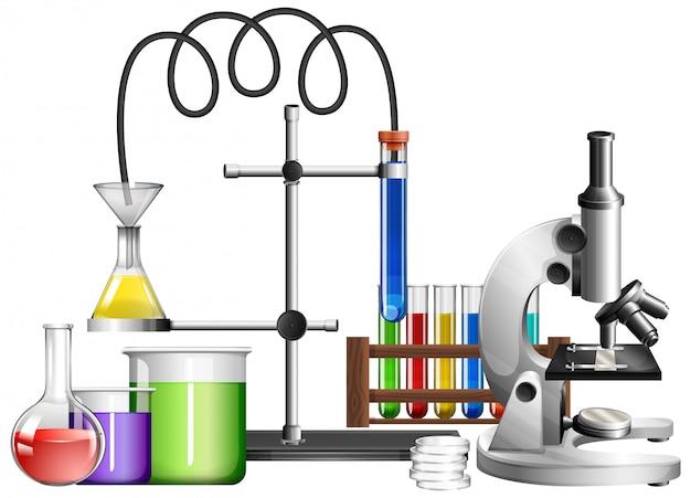 Equipamentos de ciência em branco