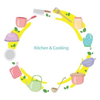 Equipamentos de cozinha, louças, utensílios de cozinha em moldura circular