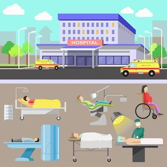 Equipamentos de diagnóstico médico e equipe médica.