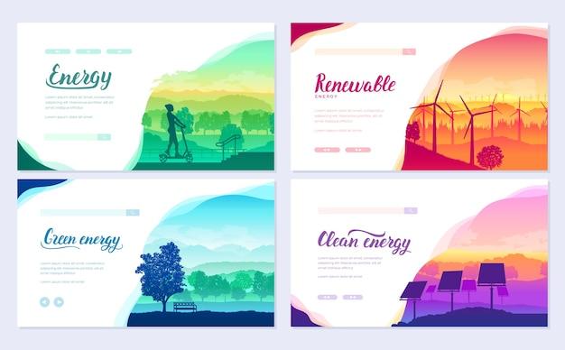 Equipamentos de energia limpa de amanhã na paisagem natural. projeto de eco eletricidade para cartaz, livreto.