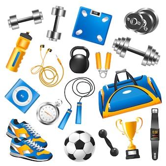 Equipamentos de esporte para conjunto de treinamento e taça de ouro