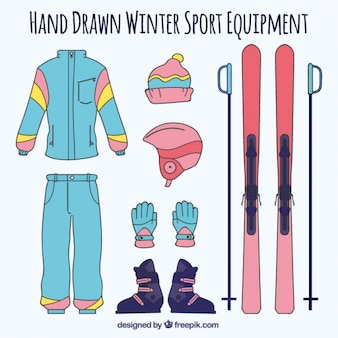 Equipamentos de esqui desenhada à mão