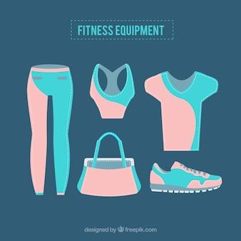 Equipamentos de fitness em estilo plano