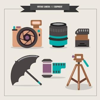 Equipamentos de fotografia analógica no design plano