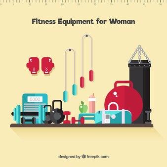 Equipamentos de ginástica para a mulher no design plano
