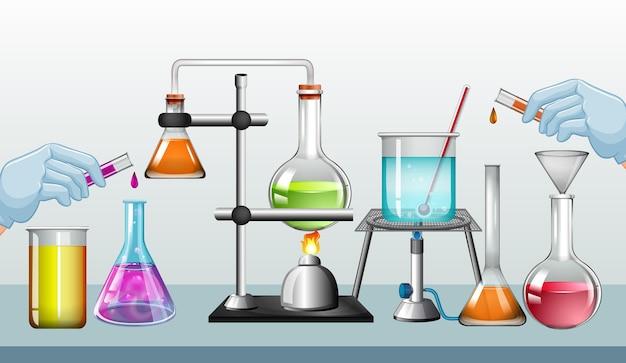 Equipamentos de laboratório de ciências em uma mesa