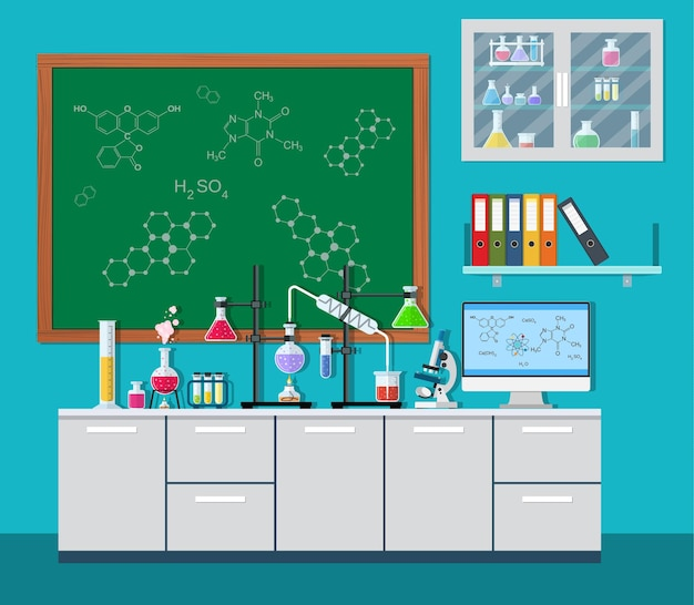 Equipamentos de laboratório, potes, béqueres, frascos,