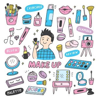 Equipamentos de maquiador em estilo doodle