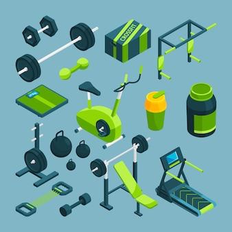 Equipamentos diferentes para musculação e levantamento de peso.
