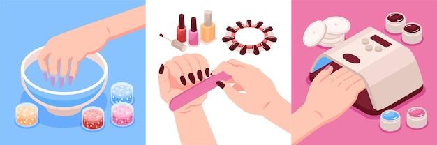 Equipamentos e acessórios para manicure isométrica design compostions conjunto de três composições quadradas com mãos femininas