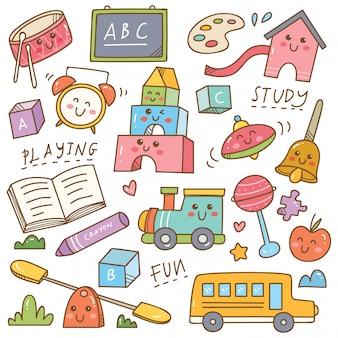 Equipamentos e brinquedos de jardim de infância doodle conjunto