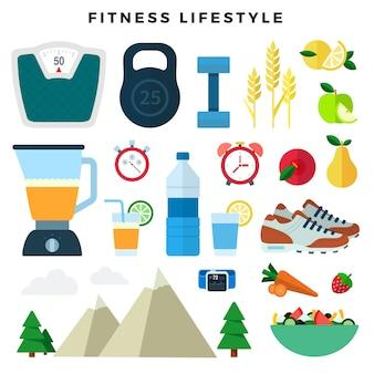 Equipamentos e produtos para fitness e estilo de vida saudável