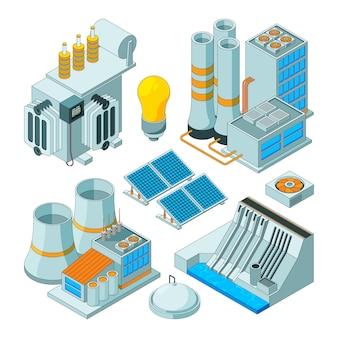 Equipamentos elétricos, geradores de iluminação watt eletricidade isométricos isolados