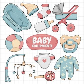 Equipamentos para bebês desenhados à mão para colorir