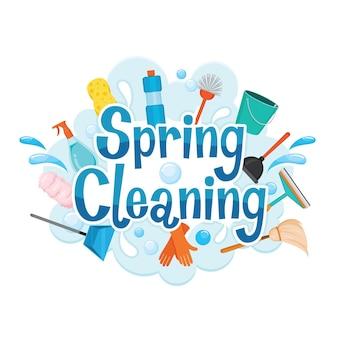 Equipamentos para decoração e limpeza de cartas de limpeza de primavera