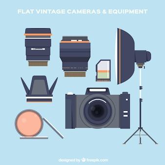 Equipamentos plana de fotografia