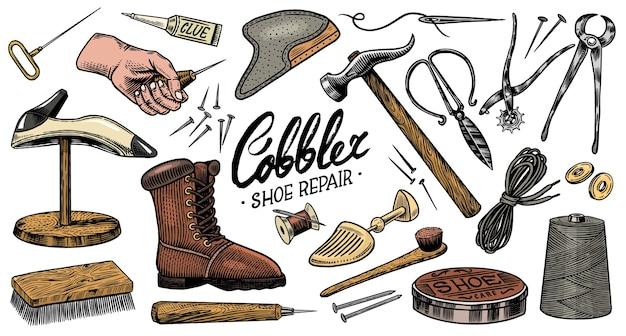 Equipamentos profissionais para conserto de calçados