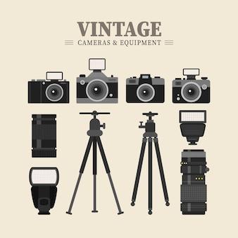 Equipamentos retro de fotografia