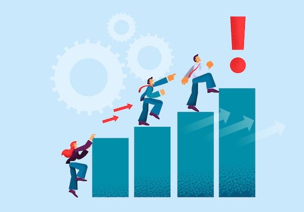 Equipe amigável de atividades produtivas leva ao crescimento.