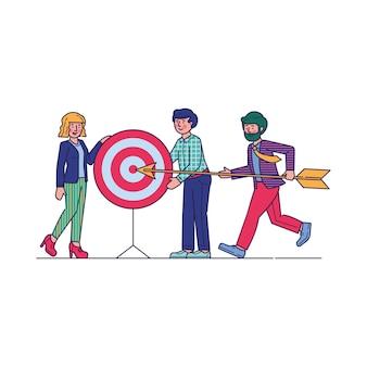 Equipe bem sucedida carregando flecha para apontar