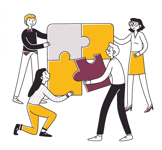 Equipe conectando peças de quebra-cabeça