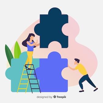 Equipe, conectando, quebra-cabeça, fundo