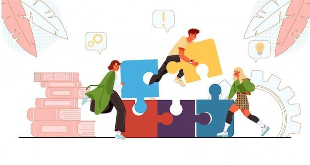 Equipe conectando quebra-cabeça juntos