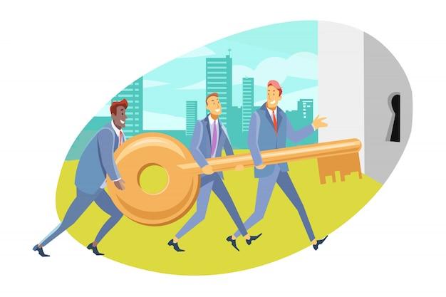 Equipe, coworking, cooperação, parceria, conceito do negócio