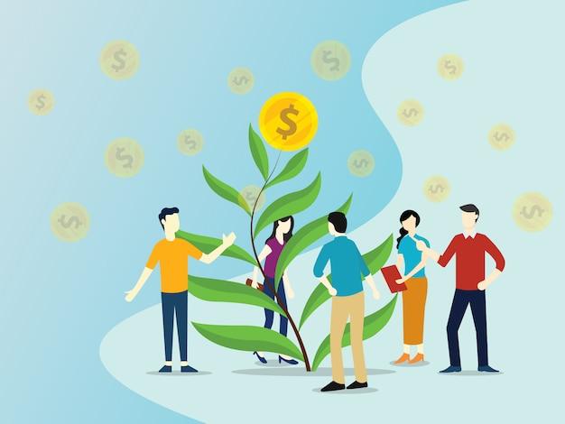 Equipe crescente investimento com folha de árvore com moeda de ouro