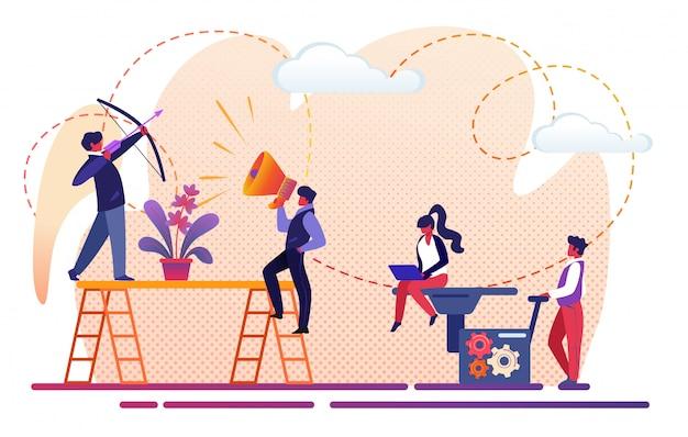 Equipe criativa dos povos do escritório que trabalha para o sucesso comercial.
