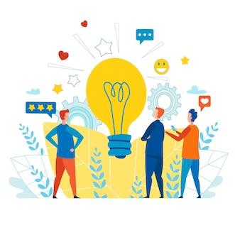 Equipe criativa trabalhando com idéia para mídias sociais
