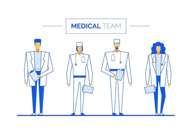 Equipe da clínica da equipe médica do cirurgião médico