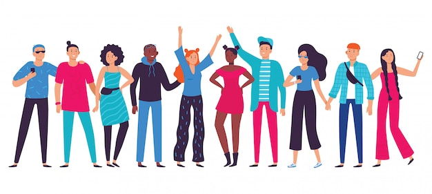 Equipe de adolescentes, adolescente feliz com amigos e ilustração em vetor plana estudante pessoa estilo de vida